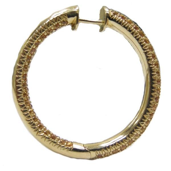 14kt gold citrine gemstone hoop earring