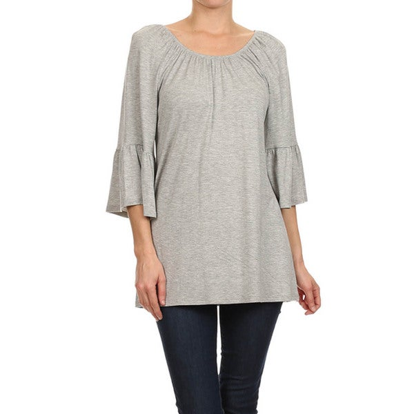 Solid-colored Kimono Sleeve Tunic Top
