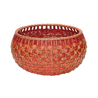 Dimond Home Medium Fish Scale Red and Orange Basket