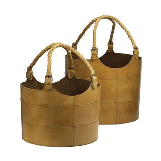 Dimond Home Nested Caramel Leather Buckets (Set of 2)