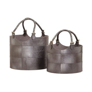 Dimond Home Nested Gunmetal Leather Buckets (Set of 2)
