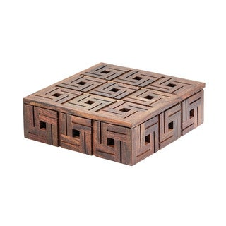 Dimond Home Chocolate Small Teak Patterned Box