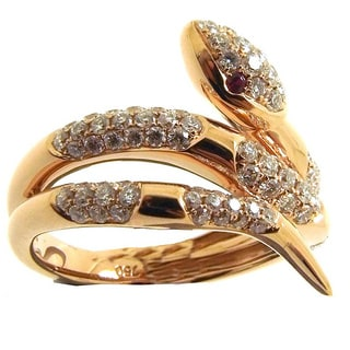 Kabella 18k Rose Gold 4/5ct TDW Diamond and Ruby Snake Ring (G-H, SI1-SI2) (Size 6.5)