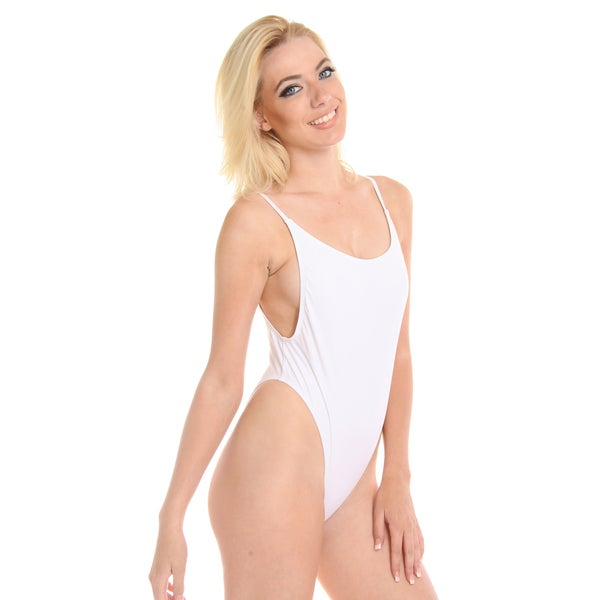 Dippin Daisy's Solid White High Cut Vintage Swimsuit