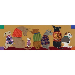 Portfolio Canvas Decor Dupre 'Dogs in a Row I' 12x36 Framed Canvas Wall Art (Set of 2)