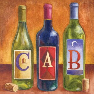 Portfolio Canvas Decor Geoff Allen 'Bottles Cabernet' 16x16 Framed Canvas Wall Art (Set of 2)