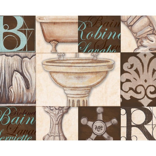 Charlene Audrey 'Bath Bain Aqua Sink' 16x20 Framed Canvas Wall Art (Set of 2)