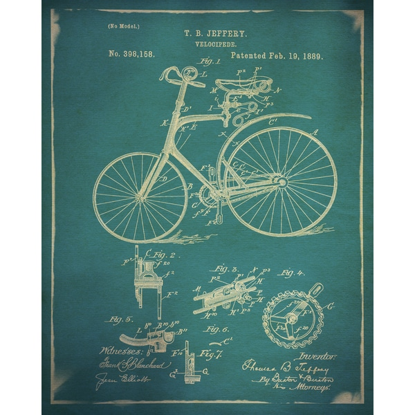 GI ArtLab 'Bicycle Patent 1 Buff' 16x20 Framed Canvas Wall Art (Set of 2)