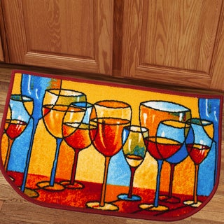 Bright and Colorful Merlot Assorted Wine Glass Design 18x30 Kitchen Slice Rug