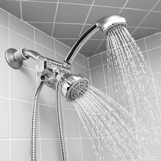 Deluxe Easy Install 5-function Dual Shower Head and Massager Set in Chrome