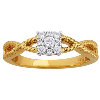 10k Two Tone Gold 1/6ct TDW Cushion Shaped Cluster Top Engagement Ring (I1-I2, H-I)