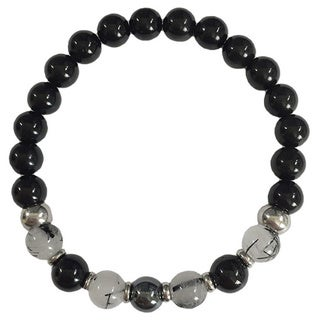 Rutilated Quartz, Hematite and Black Obsidian Bracelet