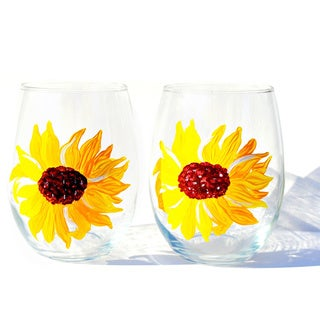 Yellow Sunflower 20-ounce Hand-painted Stemless Wine Glasses (Set of 2)