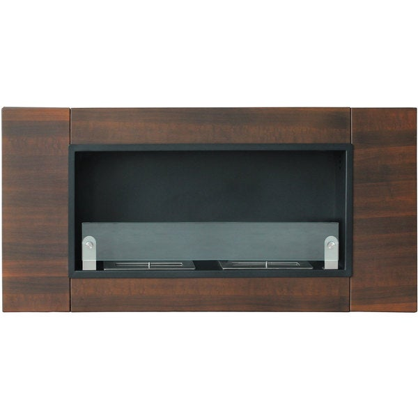 Finestera Due Dark Walnut Finish Wall Mounted Fireplace