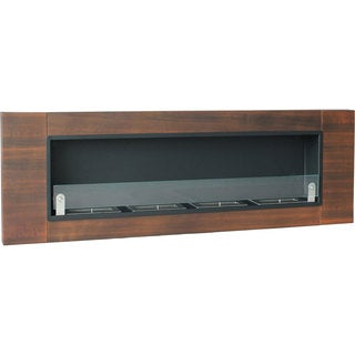 Finestera Quattro Dark Walnut Finish Wall Mounted Fireplace