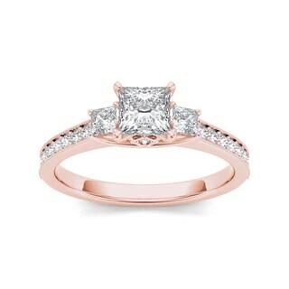 De Couer 14k Rose Gold 1 1/4ct TDW Diamond Three-Stone Anniversary Ring (H-I, I2)