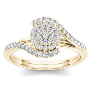 De Couer 10k Yellow Gold 3/8ct TDW Diamond Bypass Halo Engagement Ring (H-I, I2)