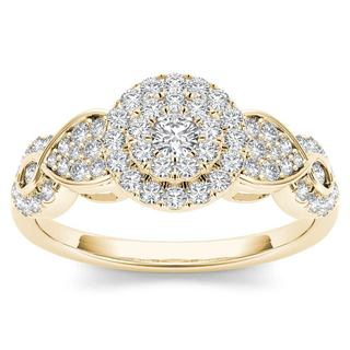 De Couer 10k Yellow Gold 1/2ct Diamond Halo Engagement Ring (H-I, I2)