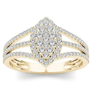 De Couer 10k Yellow Gold 1/2ct TDW Diamond Marquise-Framed Cluster Engagement Ring (H-I, I2)