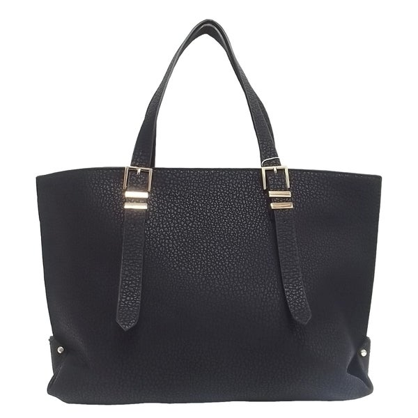 Black Textured Tote Bag
