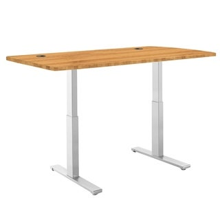 Premium Standing Desk, Grey Frame, Rectangular Wood Table Top, Programmable Memory Pad