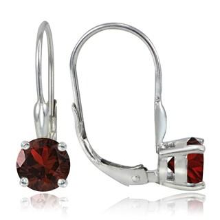 Glitzy Rocks Sterling Silver 2.2ct TGW Garnet Leverback Earrings