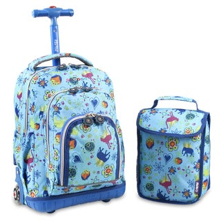 J World Jungle Lollipop 16-inch Rolling Backpack and Lunch Bag Set
