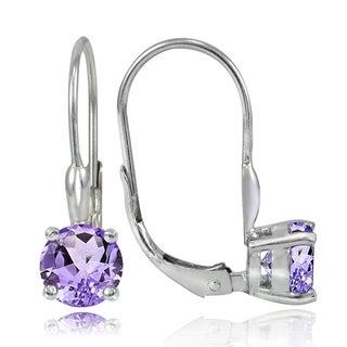 Glitzy Rocks Sterling Silver 1.5ct TGW Green or Purple Amethyst Leverback Earrings