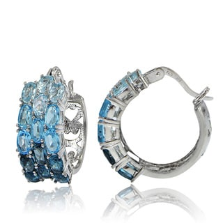 Glitzy Rocks Sterling Silver Sky Swiss and London Blue Topaz Hoop Earrings