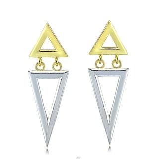 Mondevio Sterling Silver Two-Tone Double Inverse Triangle Dangle Earrings