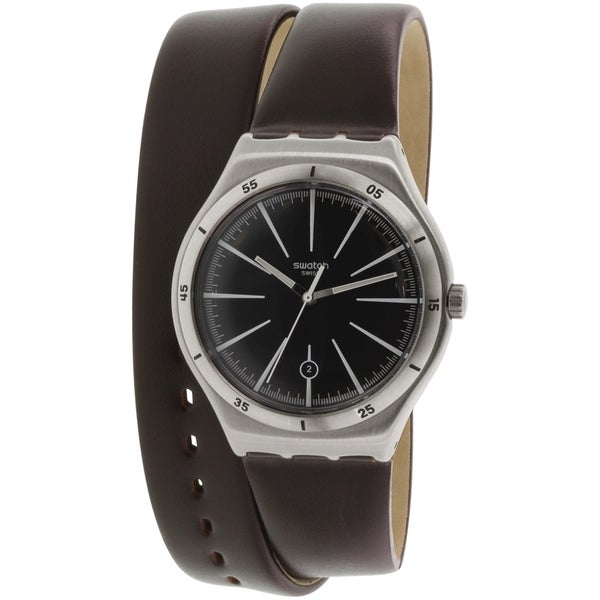 Swatch Men's YWS409 'Irony' Brown Leather Watch 15942384