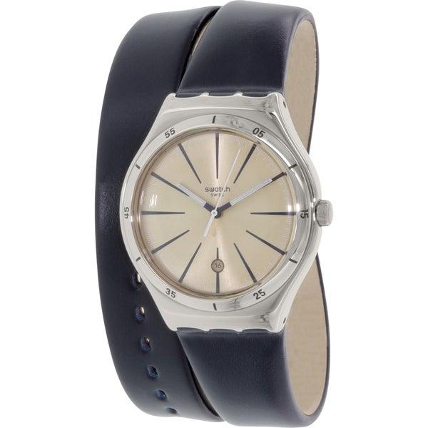 Swatch Women's YWS408 'Irony' Blue Leather Watch 15942408