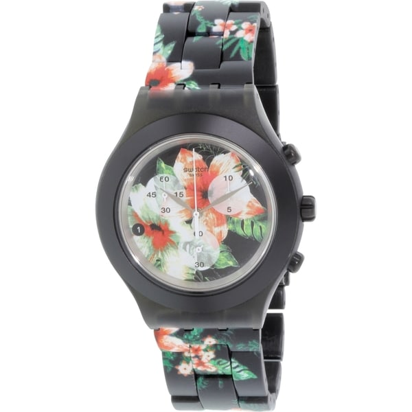 Swatch Women's SVCF4002AG 'Irony' Chronograph Black Aluminum Watch