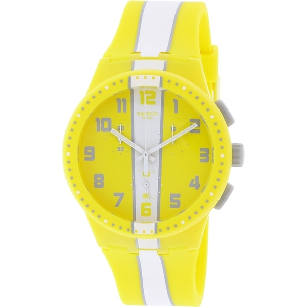 Swatch Unisex SUSJ100 'Amorgos' Chronograph Yellow Silicone Watch