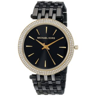 Michael Kors Women's Darci Diamond Black And Gold Stainless Steel Watch MK3322