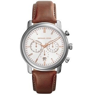 Michael Kors Men's Pennant Chronograph White Dial Brown Leather Watch MK8372