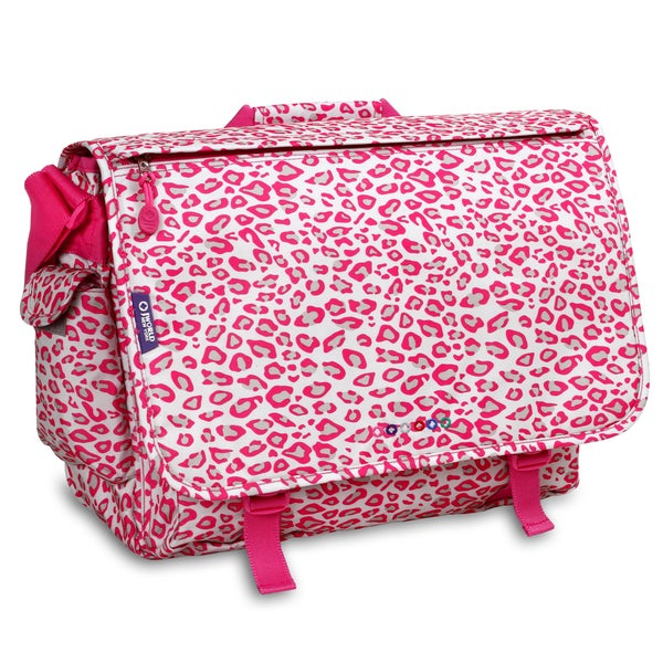 J World Pink Leopard Thomas 15.4-inch Laptop Messenger Bag
