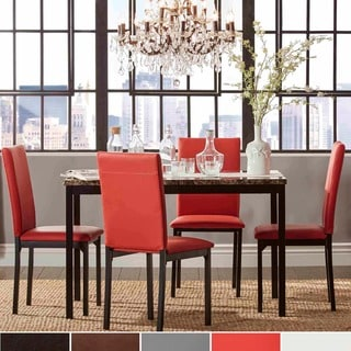 TRIBECCA HOME Darcy Faux Marble Top Metal 5-piece Casual Dining Set