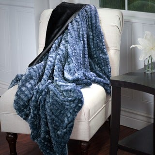 Windsor Home Plush Striped Embossed Faux Fur Mink Throw