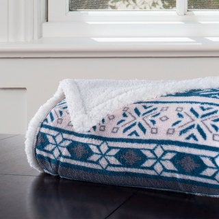 Windsor Home Fleece Sherpa Blanket Throw