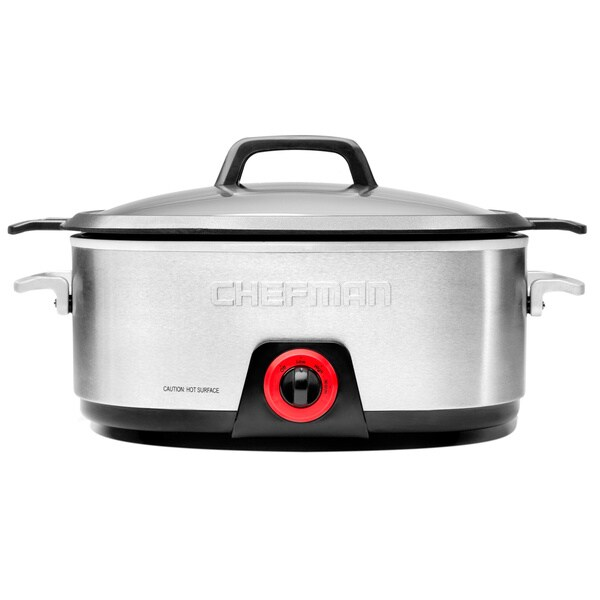 Chefman RJ15-DC-6 Stainless Steel Slow Cooker with Die-Cast Insert