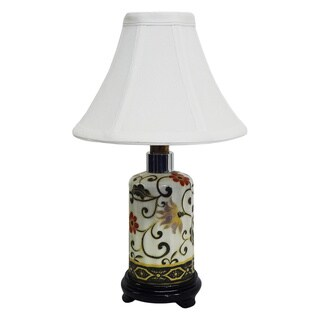 Floral Scrolls Small Bottle Porcelain Lamp