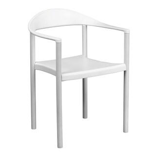 Monarda Modern White Stack Dining Arm Chairs