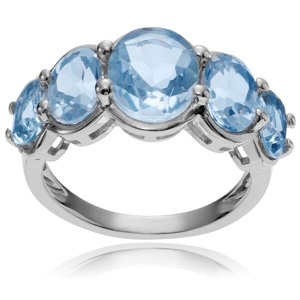 Journee Collection Sterling Silver Oval Blue Topaz 5-stone Ring
