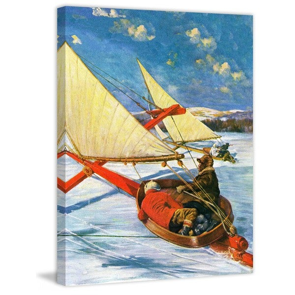 """Marmont Hill - """"Ice Boating"""" by Anton Otto Fischer Painting Print on Canvas"""