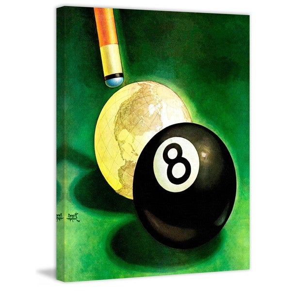 """Marmont Hill - """"World as Cue Ball"""" by Emmett Watson Painting Print on Canvas"""