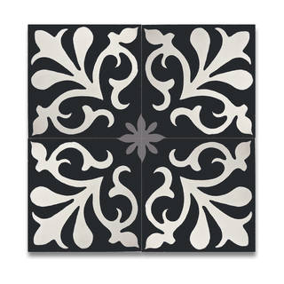 Pack of 12 Tazarine Black and White Handmade Cement and Granite 8x8 Floor and Wall Tiles (Morocco)