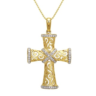 Beverly Hills Charm 14K Gold 1/2ct TDW Satin Finished Diamond Cross Pendant (H-I, I1-I2)