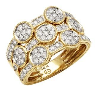 Beverly Hills Charm 14K Yellow Gold 3/4ct TDW Circle Detailed Three-Band Milgrain Ring (H-I, I2-I3)
