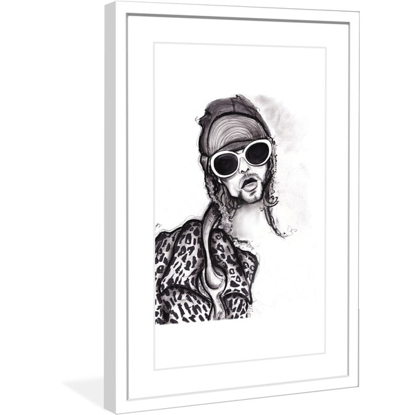 "Marmont Hill - ""Kurt Cobain"" by Jaime Lee Reardin Fashion Illustrator framed art print"